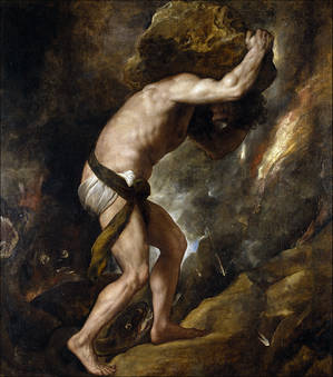Sisyphus rolling stone