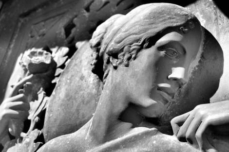 black and white statue