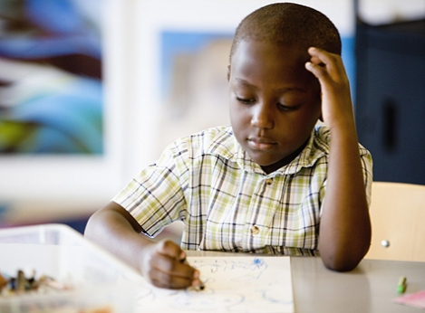 black boy school drawing