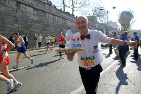 Paris Marathon waiter bottle of water