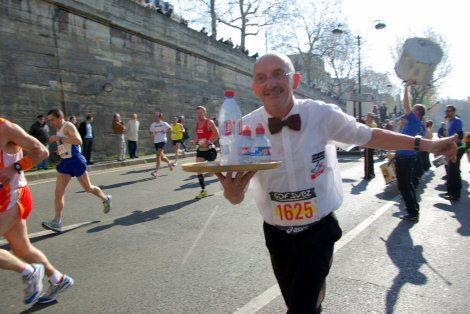 Paris Marathon waiter bottle of water