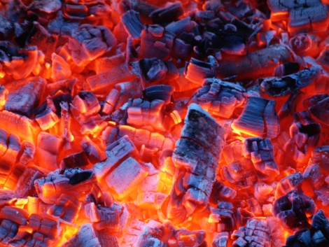 charcoal fire flames