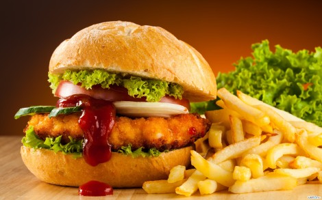 chicken burger french fries