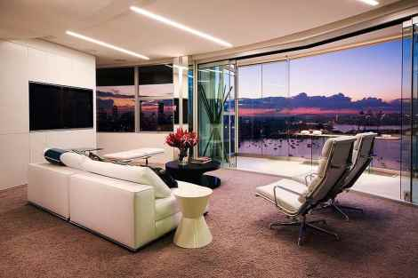 apartment living room with view