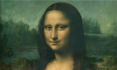 The Mona Lisa in Paris.